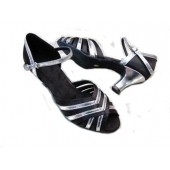 ANGIE BLACK/SILVER -  2.5 LOW HEEL