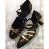 CATE BLACK / GOLD- BLOCK HEEL
