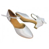 MIKA IVORY SATIN - 1.5 INCH HEEL - RESIN SOLE - ANKLE STRAP