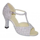LILLY WHITE SPARKLE OPEN - 2.5 INCH HEEL